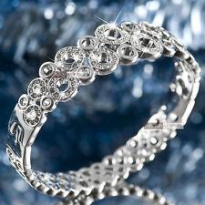 18k white gold gf made with SWAROVSKI crystal circle ring bangle bracelet