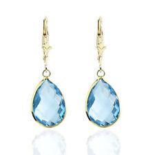 14K Yellow Gold Dangling Earrings Fancy Cut Pear Shaped Blue Topaz Gemstones