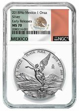 2018 Mexico Silver 1 Onza Libertad NGC MS70 Early Releases Flag Label