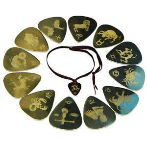 Zodiac Sign Astrology Horoscope Guitar Pick Plectrum Pendant Metal Brass UK made