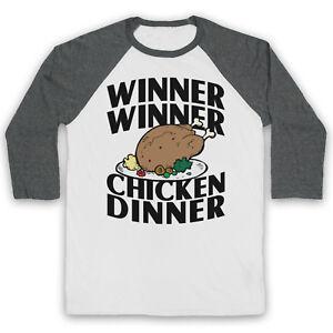 WINNER WINNER CHICKEN DINNER FUNNY ICONIC SLOGAN UNISEX 3/4 BASEBALL TEE