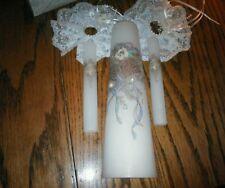 Vintage 3 piece Wedding Unity Candle Set 1 Pillar & 2 tapers Wedding Bells Pearl