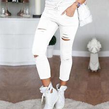 Damen Zerrissen zerstört JEGGINGS LEGGINGS SKINNY Lang Hose Jeans Hosen