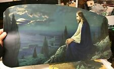 """Vintage Jesus Christ on the mount Picture Print oblong Heavy Stock Paper 14x28"""""""