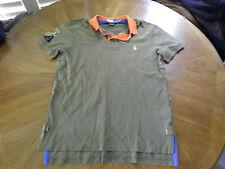 POLO Ralph Lauren Indian Head Patch Canoe Kayak R32 OD Green Polo Shirt size M