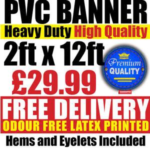 PVC Banners Outdoor Vinyl 2ft x 12ft Advertising Sign Display Custom Printed