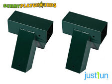 SET OF TWO SWING SET ACCESSORIES 90° A-FRAME METAL SWING CORNER GREEN 4x4