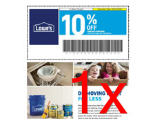 FASTEST Delivery - Lowe's 10% off Coupon ONE 1x - In-Store ONLY - With Barcode
