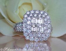 Nobel: Brillanten Ring mit lupenreinen Diamanten 2,85 ct TW+ IF/VVS WG750 15400€