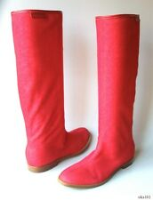 new SERGIO ROSSI red denim flat TALL BOOTS with logo 35 US 5 - fabulous