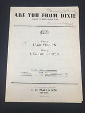 """VINTAGE 1915 BLACK AMERICANA SHEET MUSIC: """"ARE YOU FROM DIXIE?"""""""