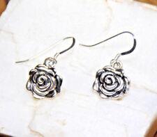 Rose bud Earrings Flower dangle 925 sterling silver hooks pewter charms Rosebud