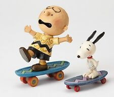 Jim Shore Peanuts Skateboarding Buddies Charlie Brown & Snoopy Figurines 4054080