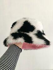Baby Pink / Cow Print REVERSIBLE Fluffy Bucket Hat - Handmade - Festival