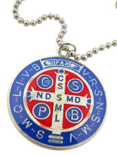 Saint St Benedict Medal 1 Inch Pendant with Ball Chain Necklace, 20 Inch