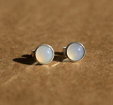925 Sterling silver stud earrings with natural Blue Lace Agate gemstones