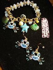 Betsey johnson Blue Crab n Sealife Bracelet/ Blu crab earrings
