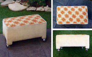 Vtg Ottoman Midcentury Star Footstool Bench Hassock Stool Needlepoint MCM Caster