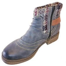 Spring Step Blue Sweater Booties Faux Vegan Leather Comfort Shoes Fall Boots