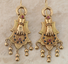 Vintage Ruby Sapphire and Diamond Drop Earrings 12ct Yellow Gold