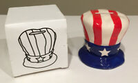 USA COIN BANK Uncle Sam Hat CERAMIC Coin Bank RED WHITE BLUE STARS & STRIPES nib