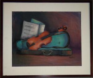Bo Kass : Violin Pastel - Signed original drawing, framed