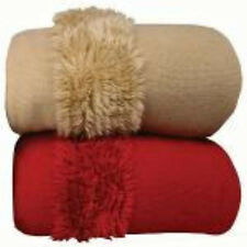 Luxury Woven Throw Rugs Soft feel throw lovely Red or Pebble beige available