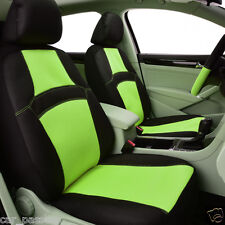 universal Two Front Car Seat Covers Green Steering Wheel Cover Belt Pad Airbag