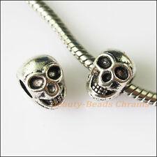 6Pcs Antiqued Silver Halloween Skull Spacer Beads fit European Charm Bracelets