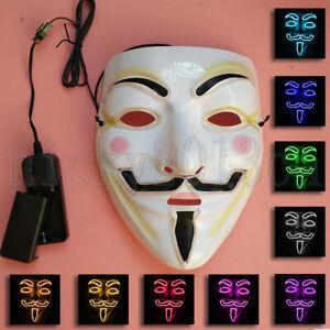 LED EL Neon Mask Halloween Anonymous Vendetta Guy Fawkes Light Up Glow Fancy
