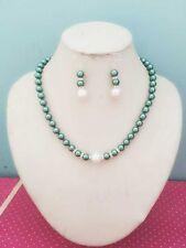 8MM Dark Green  South Sea Shell Pearl necklace earrings set AAA Grade