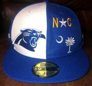 New Era NFL 59Fifty North Carolina Panthers OnField Football Cap Blue Sz 7 1/8