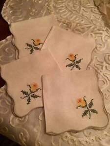 Set 4 Antique Hand Made Linen Cocktail Napkins Embroidered Yellow Flower