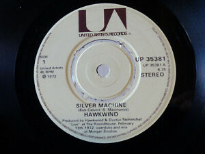 "Silver Machine (1982) Hawkwind (UP 35381) LP 7"" RE UK"