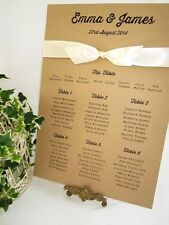 Wedding table seating plan A3 / vintage/ rustic/ satin ribbon/shabby chic