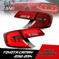 VLAND LED Red Tail Lights Rear Brake Lamps Pairs For 2012 2013 2014 Toyota Camry