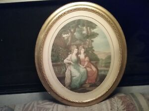 Angelica Kauffman Antique Hand Colored Engraving Print