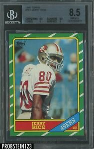 1986 Topps Football #161 Jerry Rice 49ers RC Rookie HOF BGS 8.5 w/ 9.5