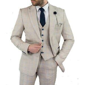 Mens Cavani Vintage Check Tweed Cream Wedding 3 Piece Suit Tailored Fit