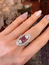 Ruby and Diamond Statement Ring TW 4.50 ct in 18k White Gold--HM1774