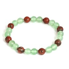 """Bracelet Natural Round Gemstone 7.5"""" Fc-79 8Mm Green Fluorite and Agate Beads"""