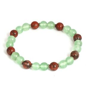 """8MM Green Fluorite and Agate Beads Bracelet Natural Round Gemstone 7.5"""" FC-79"""