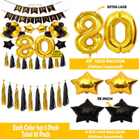 80Th Birthday Decoration BIRTHDAY PARTY DECORATIONS KIT Happy BLACK Banner Gold