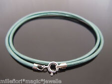 """2mm Teal Green Leather & Sterling Silver Necklace Or Wristband 16"""" 18"""" 20"""" 22"""""""