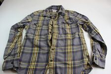 Lucky Brand Yellow Gray Plaid Long Sleeve Trucker Shirt M 15.5 x 33/34 Slim