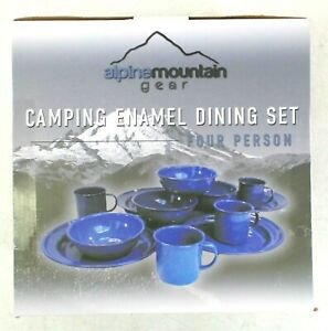 Alpine Mountain Gear Four Person Camping Enamel Dishes / Dining Set, Blue