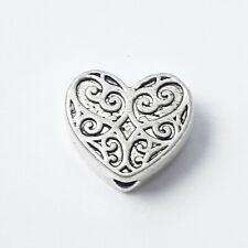10pcs Heart Metal Beads Antique Silver 10x9mm - B0255075