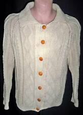 """HAND KNIT ARAN ISLE FISHERMAN'S CABLE CARDIGAN COLLAR WOOLEN SWEATER--44"""" CHEST"""