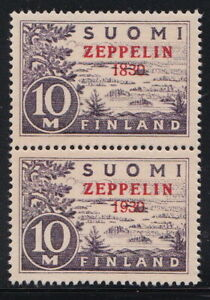 "FINLAND RARE Zeppelin ""1830"" Error MNH Pair Gummed Reproduction Stamp sv"