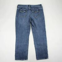 Vera Wang Women's Jeans Cropped Straight Leg Mid Rise Size 8 Stretch Medium Wash